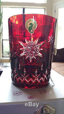 WATERFORD Snowflake Wishes JOY 1st Ruby DOF Glass Double Old Fashioned 2011 NEW