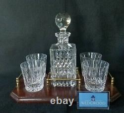 WEDGWOOD Crystal Decanter With Double Old Fashioned & Tray 6 Piece Set