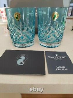 Waterford Aqua Lismore Double Old Fashioned Glass DAMAGED BOX NEW GLASS