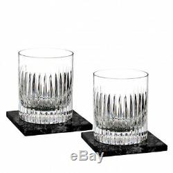 Waterford Aras Double Old Fashioned pair, with Marble Coasters