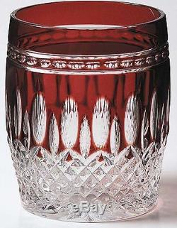 Waterford CLARENDON RUBY Double Old Fashioned Whiskey PAIR DOF RED NEW MINT TWO