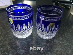 Waterford Clarendon Cobalt Blue Double Old Fashioned Crystal Glasses