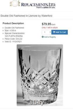 Waterford Crystal 4 Piece Signed Lismore 4 1/4 Double Old Fashioned Tumblers