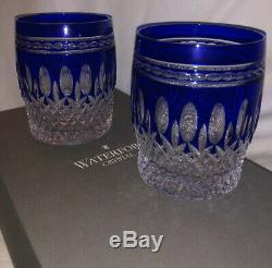 Waterford Crystal CLARENDON Cobalt DOF Double Old Fashioned Tumbler Blue (2) IOB