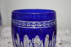 Waterford Crystal Clarendon Cobalt Blue Double Old Fashioned Glasses Set of 2