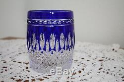 Waterford Crystal Clarendon Cobalt Blue Double Old Fashioned Glasses Set of 8