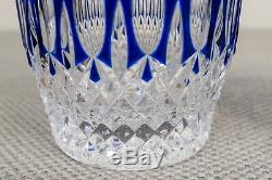 Waterford Crystal Clarendon Cobalt Blue Double Old Fashioned Tumbler Glass Pair