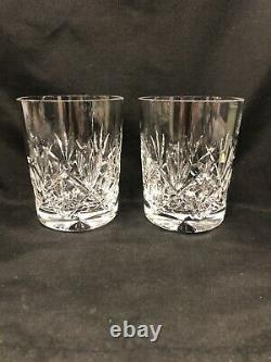 Waterford Crystal Double Old Fashioned Pair/Rare Kinshire Pattern Mint Unused