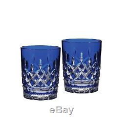 Waterford Crystal Lismore Cobalt Double Old Fashioned, Pair