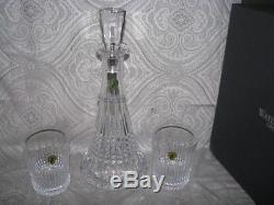 Waterford Crystal Lismore Diamond Decanter and (2) Double Old Fashioned Glasses