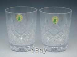 Waterford Crystal Lismore Pair 2 Double Old Fashioned Glasses Tumblers 4.3/8