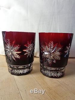 Waterford Crystal Ruby Red Snowflake Double Old Fashioned Glasses, One Pair