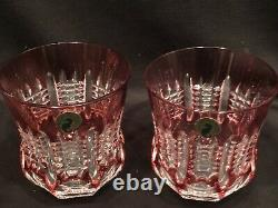 Waterford Crystal SIMPLY PASTEL PINK DOUBLE OLD FASHIONED Glasses Set of 2 NEW
