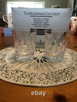 Waterford Crystal Set Of 2 Millennium Health Double Old FashionedNew With Box