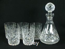 Waterford LISMORE 12 oz 5 DOUBLE OLD FASHIONED CRYSTAL Glass 4 3/8 & Decanter