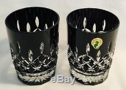 Waterford Lismore Black 12 oz. Double Old Fashioned Glasses Set of 2 MINT