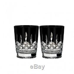 Waterford Lismore Black DOF Double Old Fashioned Glass Pair New # 40021871