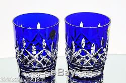 Waterford Lismore Cobalt Blue Cased Crystal Double Old Fashioned Whiskey Pair