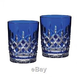 Waterford Lismore Cobalt Double Old Fashioned, Pair