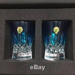 Waterford Lismore Pops Aqua Double Old Fashioned Glasses, Pair 40019541 Nwt
