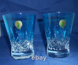 Waterford Lismore Pops Aqua Double Old Fashioned Glasses Set of 2 New