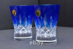 Waterford Lismore Pops Cobalt Blue DOF Double Old Fashioned 2 Glasses Tumblers