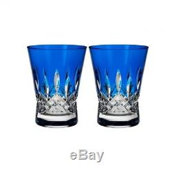 Waterford Lismore Pops Cobalt Double Old Fashioned DOF Pair #40019536 Brand New