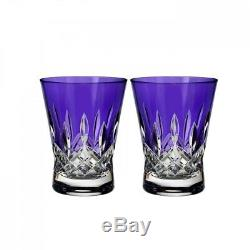 Waterford Lismore Pops Purple Double Old Fashioned DOF Pair # 40019537