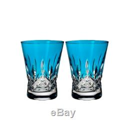 Waterford Lismore Pops Set of 2 Double Old Fashioned Glasses Aqua