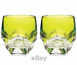 Waterford MIXOLOGY Neon Lime Green Tumbler SET/2 Double Old Fashioned New WO BOX