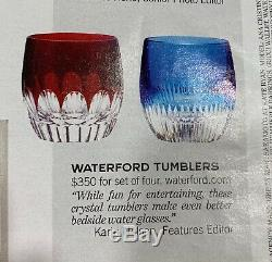 Waterford MIXOLOGY SET/4 Double Old Fashioned Mixed Color Glass Tumblers 160453