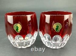 Waterford Mixology Talon Red Set of 2 Double Old Fashioned DOF Glasses Tumblers