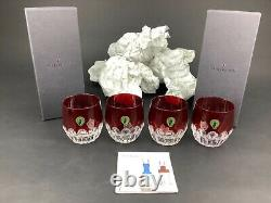 Waterford Mixology Talon Red Set of 4 Double Old Fashioned DOF Glasses Tumblers