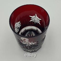 Waterford Snow Crystals Red Double Old Fashioned Glasses with Box (Pair)