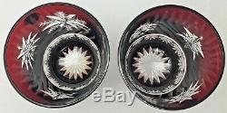 Waterford Snow Crystals Ruby Red Double Old Fashioned Glasses Pair Snowflakes