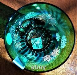 Waterford Snowflake Wishes Courage Emerald Green Double Old Fashioned Glass &Box
