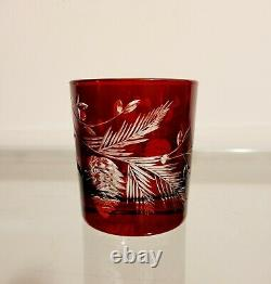 Williams Sonoma Red Pinecone Cut Double Old-Fashioned Glasses Set of 4 NEW