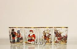 Williams Sonoma Twas The Night Before Christmas Double Old Fashioned Glasses S/4